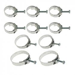 Set de 10 colliers de serrage, type original, toutes durites moteur V8