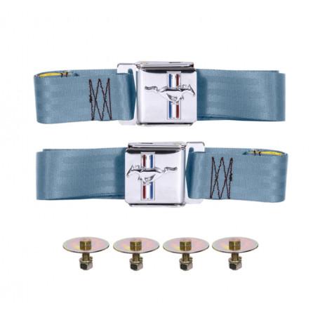 Paire de ceintures de sécurité bleu, Mustang 64 à 73