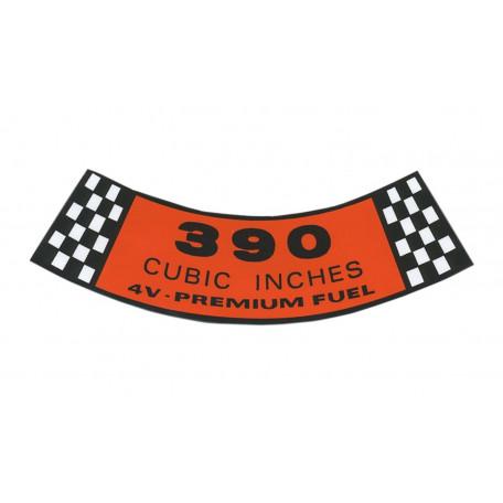 Autocollant 390-4V pour filtre à air, Mustang 65 à 67