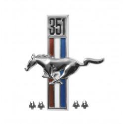 Emblème d'aile 351 côté conducteur, Mustang 67 à 68